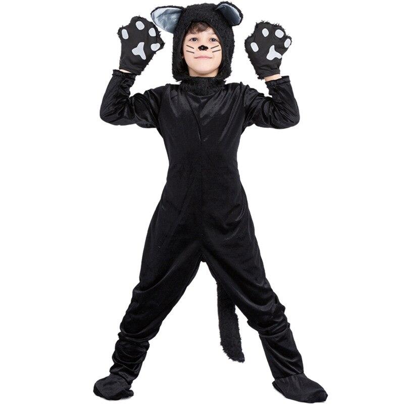 أزياء حفلات Umorden هالوين Purim, أزياء حفلات Umorden للهالوين Purim للأولاد على شكل حيوان قطة سوداء زي تنكري بقلنسوة بدلة أطفال