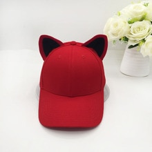 The new cat ears baseball cap made of pure cotton equestrian cap topi female cute hat