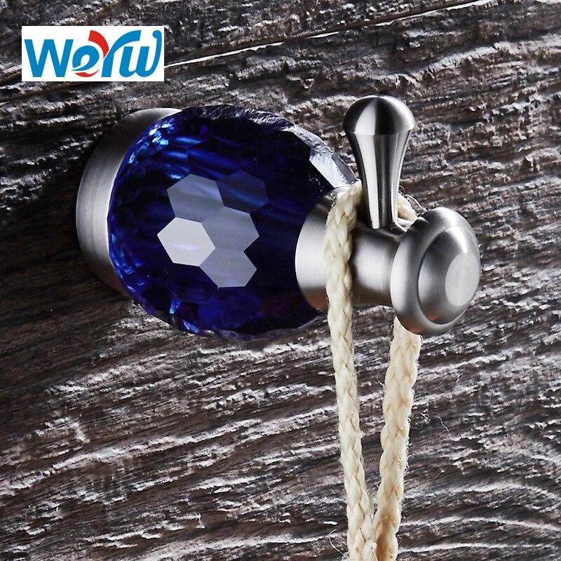 WEYUU هوك على الحائط الفاخرة الأزرق كريستال هوك ملابس حمام من الفولاذ المقاوم للصدأ اكسسوارات الشنق منشفة الملابس سلك الرسم