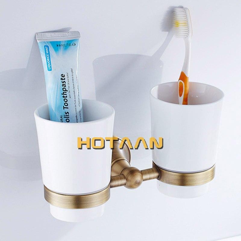 شحن مجاني حامل فرشاة الأسنان الموضة ، النحاس النقي والزجاج ، كوب مزدوج ، حامل الكأس الحمام مجموعة الحمام-YT-13508 بالجملة