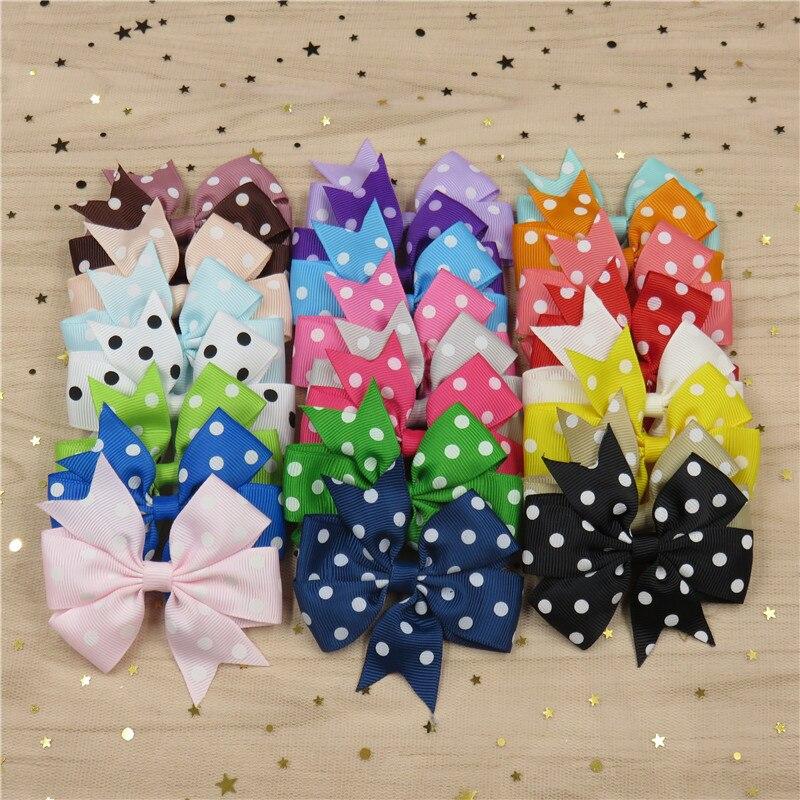 20PCS/Lot Dot Boutique Grosgrain Ribbon Girl Bow Elastic Hair Tie Clip Hair Band Bow DIY Hair Accessories Best Gift 2018
