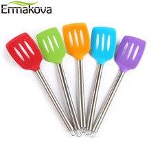 ERMAKOVA Premium antiadhésif FDA Grade tourneur en Silicone fendu tourneur spatule poignée en acier inoxydable