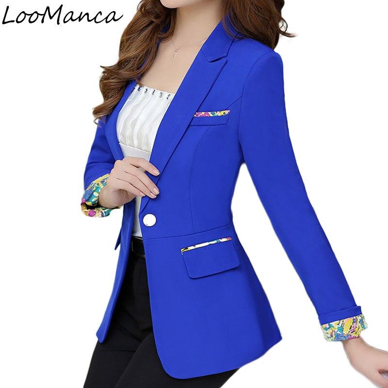 Casual feminino blazers e jaquetas primavera outono manga longa blaser casaco feminino azul preto branco senhoras blazer feminino