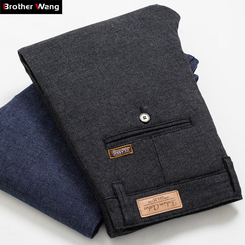 Мужские облегающие брюки, повседневные брюки в клетку, черные, синие, 2020