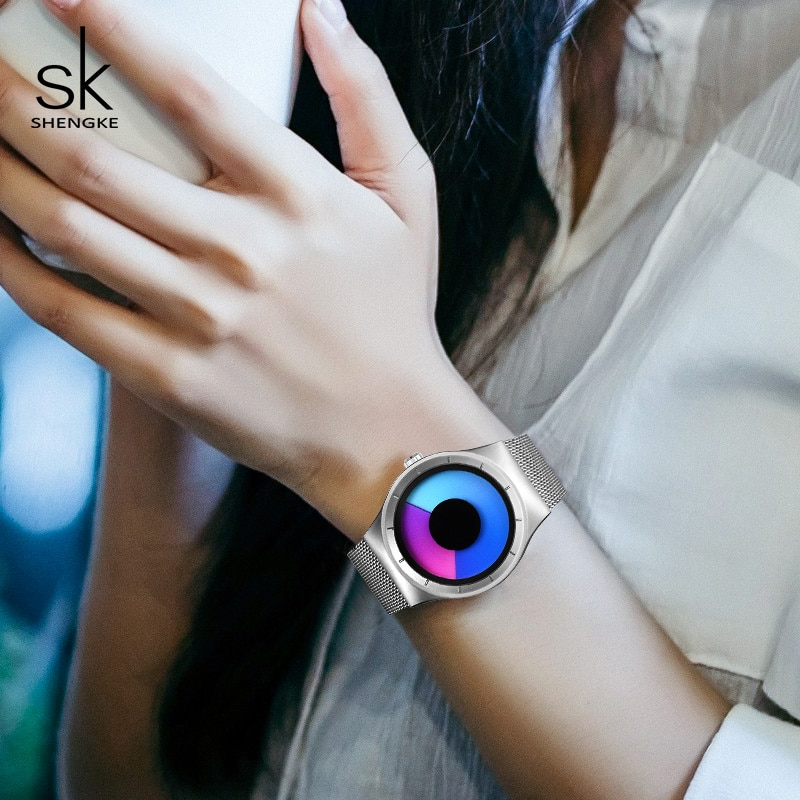 Shengke Creative Sports Quartz Women Girl Watch Stainless Steel Men Boy Watch Reloj Mujer 2019 SK Creative Women Quartz Watch