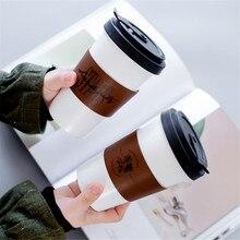 Tasse en céramique créative avec cuir tasse couverture lettre fleur motif lait café Portable tasses ménage bureau Drinkware 450ML