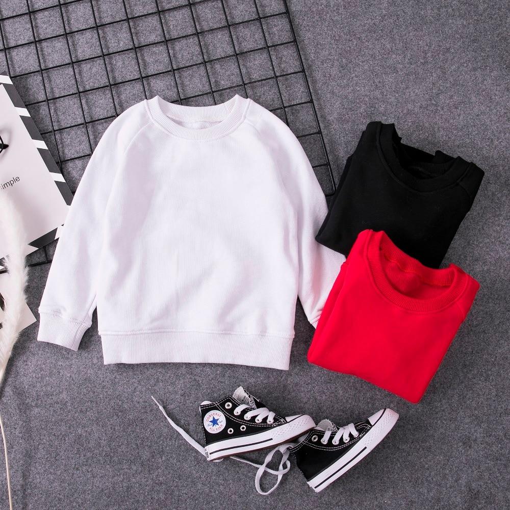 Sudaderas de moda para niños, primavera Otoño, Ropa para Niñas Blanco sólido/rojo/negro, Tops básicos de manga larga de algodón para niños 2-16Y