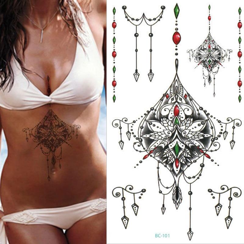 1sheet new Chest Flash Tattoo 23model large Jewelry diamond necklace Sternum tattoo body paint Waist Under breast 24*13.8cm sexy