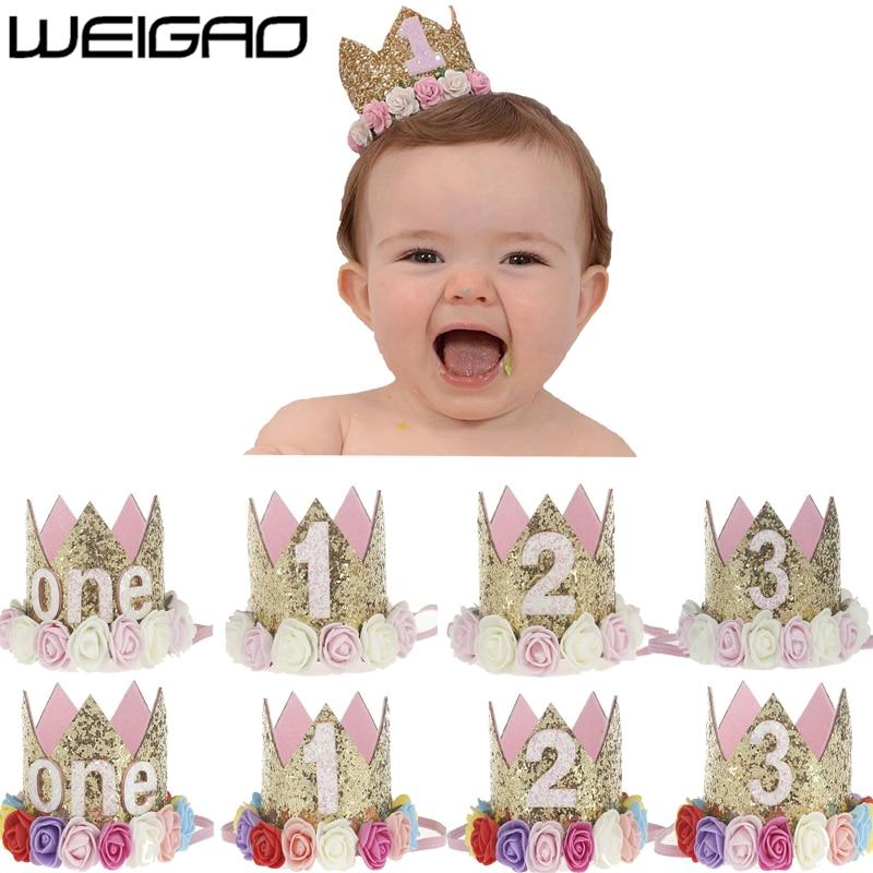 WEIGAO 1pcs 1 2 3 Birthday Caps Flower Crown 1st Birthday Hat Newborn Baby Birthday Headband 1 Year