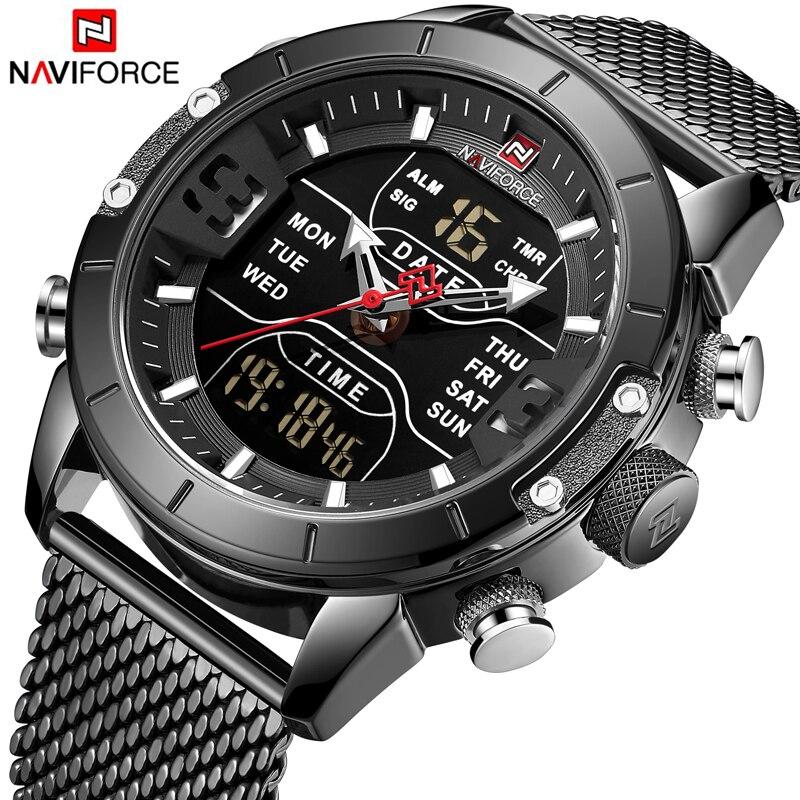 ¡Novedad de 2019! relojes NAVIFORCE de lujo de doble pantalla para hombre, reloj deportivo militar, reloj de pulsera de cuarzo resistente al agua para hombre