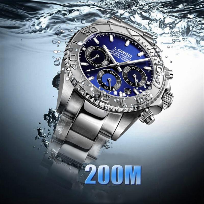 LOREO Watches Men Stainless Steel Band Automatic Mechanical Wristwatch Military 200m Waterproof Clock Male Fashion Sporty Watch