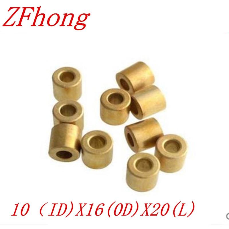 10pcs 10*20 OD=16mm 10mm Copper brass bushing guide sleeve Precision Oil bearing