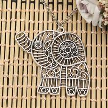 Neue Mode Hohl Elefanten Anhänger Runde Kreuz Kette Kurze Lange Mens Frauen DIY Silber Farbe Halskette Schmuck Geschenk