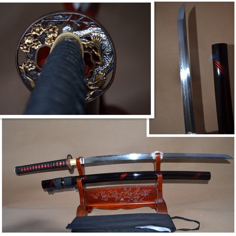 Espada de samurái japonesa KATANA Full Tang 1095 arcilla de acero al carbono hoja templada afilada puede cortar Bamboos dragón grabado