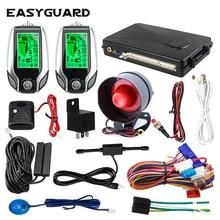 EASYGUARD 2 weg auto alarm pke keyless entry lcd pager display vibration alarm universal auto auto keyless entry system dc12v