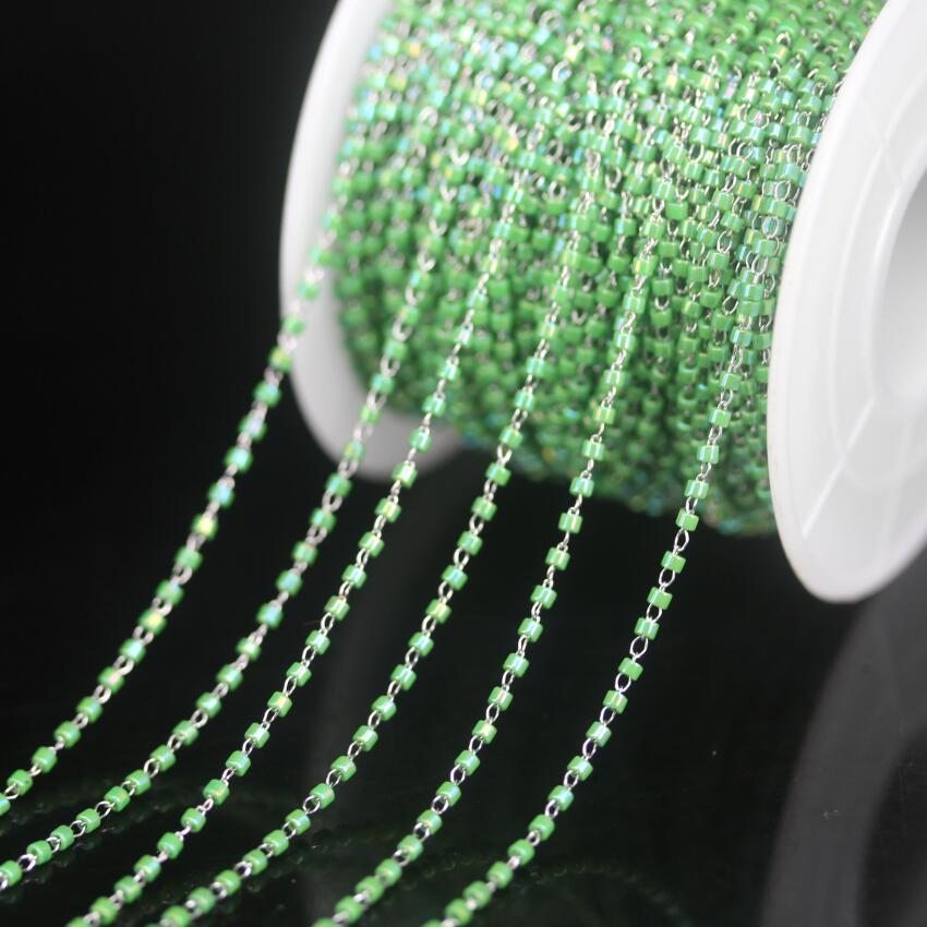 ¡Nuevo! Alambre de acero inoxidable envuelto verde AB Miyuki delica Rosario con cuentas de vidrio Cadena, semillas japonesas collar de cadenas joyas