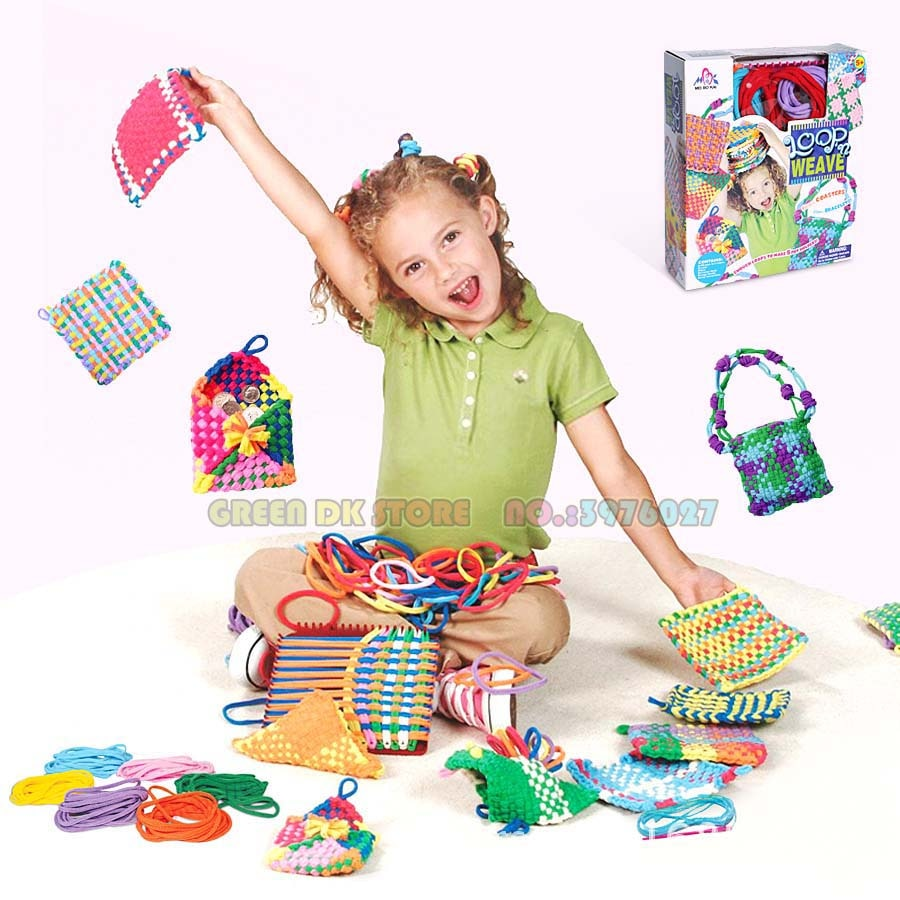 needle sewing tools diy kids knitting machine kit weaving loom for scarf hat sweater kids children pretend play toys knitting to DIY craft kit knitting kit weaving loom loops weaving loom Toys for girls Creative Gifts Beads Toys DIY TOYS
