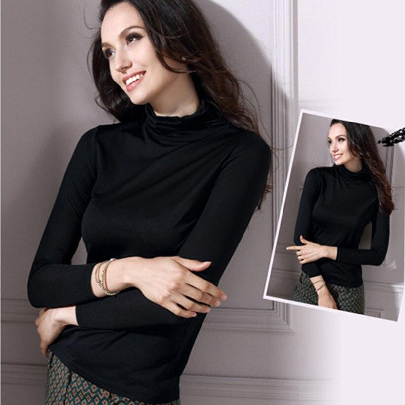 2017 camisa básica de seda pura pesada 100% Mulberry seda cuello de tortuga de manga larga mujeres suéter básico Tops L/XL /XXL/XXXL envío gratis