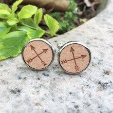 Boutons de manchette ronds primordiaux gravés au Laser croix flèches bijoux en bois Style de guerre goujon Tribal bouton de manchette en bois X 1 paire