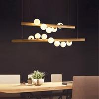 Wood White Glass Ball Led Pendant Lights Dining room Hanglamp G4 Bulb Coffee Shop Bar Pendant Lamp Home Luminaire Nordic Lamp