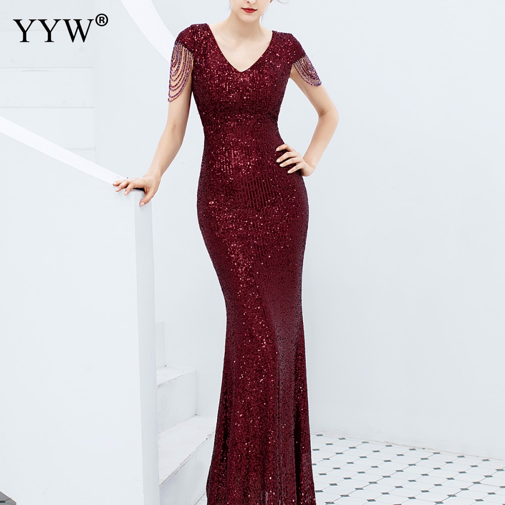 Luxury Sequined Women Evening Dress V Neck Short Sleeve Mermaid Party Gowns...