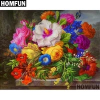 homfun full squareround drill 5d diy diamond painting colored flowers embroidery cross stitch 5d home decor gift a06096