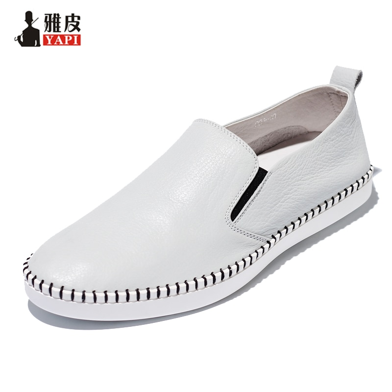 Man White Shoes Summer US5-10 Retro Soft Genuine Leather Casual Round Toe Loafers Slip-On Men's Loafer Driving Shoes