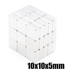 100pcs powerful magnet 10X10X5mm N35 magnetite rectangular NdFeB magnet magnetic steel square magnet 10x10x5 mm
