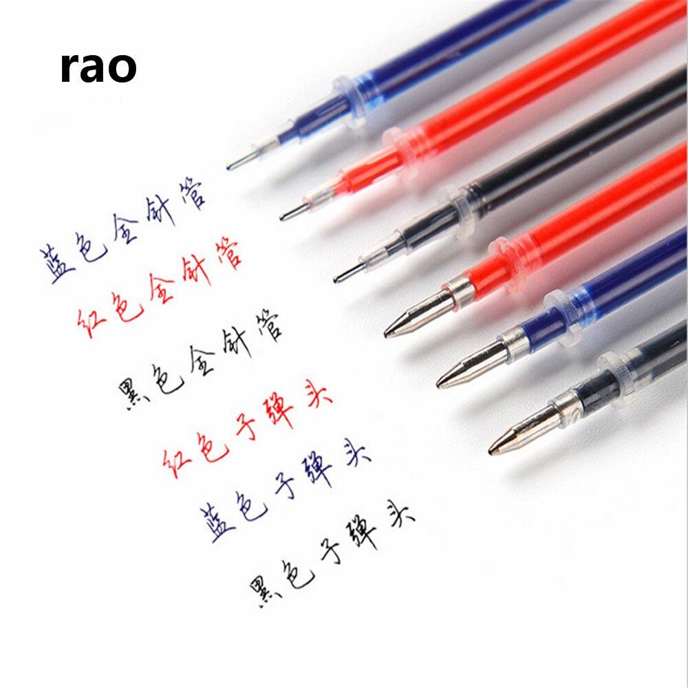 Alta calidad 0,5mm plumín Negro Azul Rojo tinta recarga tinta de pluma de gel cartucho escuela estudiante Oficina papelería