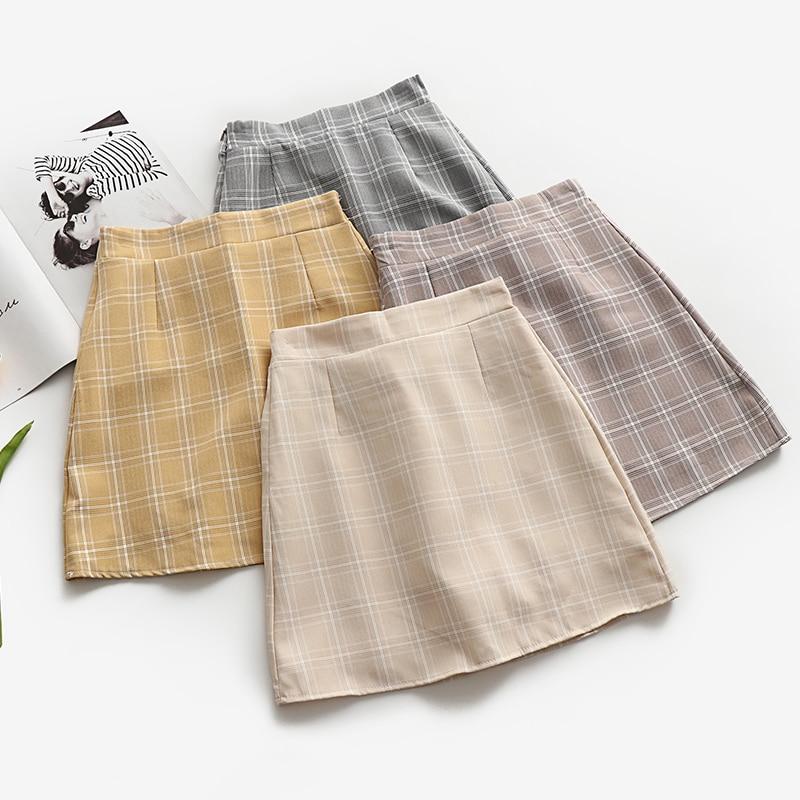 Leisure College Wind High Waist Skirt Women's Skirts Casual Ladies Kawaii Ulzzang Female Korean Vintage Clothing For Women