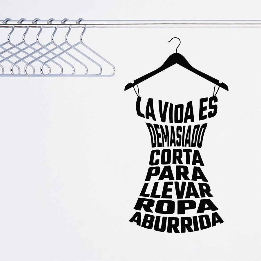 Calcomanía de pared YOYOYU, póster artístico de vinilo a la moda, pegatina de pared para ropa española, calcomanías de vestuario para habitación de guarderías YO035