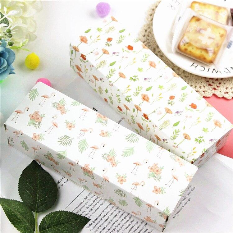 Boîtes cadeaux longues en fleurs flamands roses   30 pièces/lot, emballage en papier pour biscuits pâtisseries, fournitures de fête