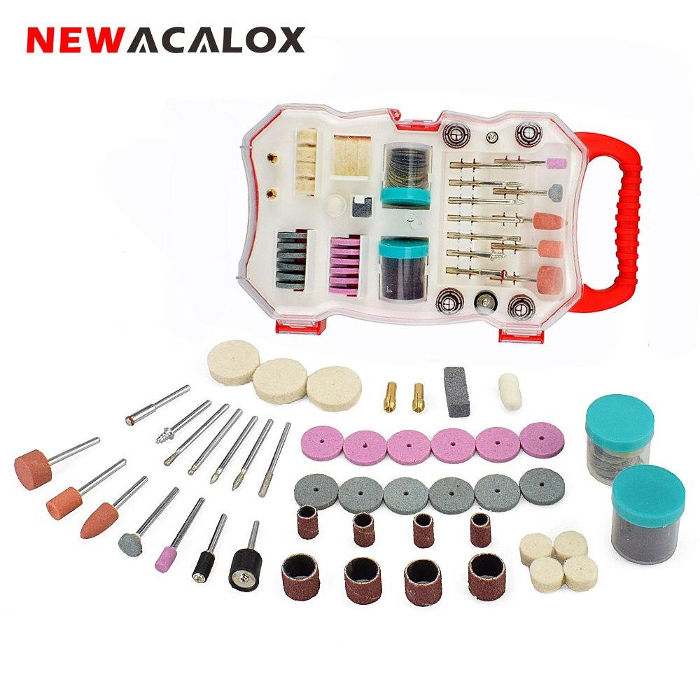 NEWACALOX 103 adet Mini matkap ucu seti taşlama makinesi parlatma zımpara kesme aşındırıcı aletler kiti Dremel aksesuarları seti