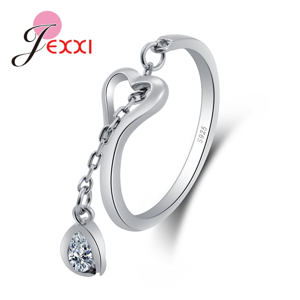 amorita boutique silver 925 unique design only one pcs sea bed design pearl ring with gift box Fashion Elegance 925 Adjustable Rings Waterdrop Heart Design 925 Sterling Silver Ring with Austrian Cubic Zirconia for Women