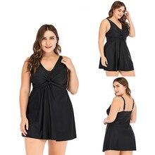 Femme grande taille Tankini maillot de bain obèse femmes maillot de bain maillot de bain séparé deux pièces noir maillots de bain avec jupe 5XL