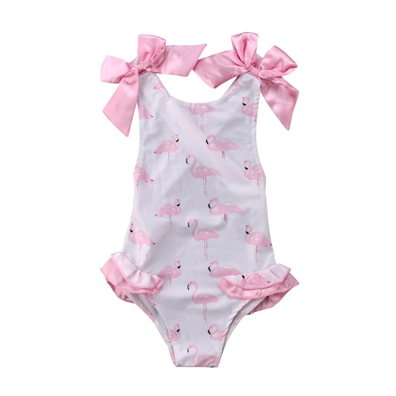 Bañador de una pieza para niñas, bonitos trajes de baño con dibujo de flamenco para niños, traje de baño de arco rosa, ropa de moda de verano para niños 2019