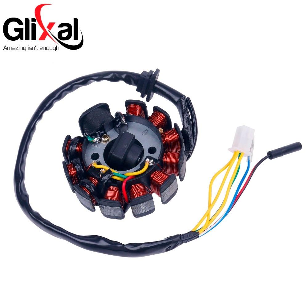 Glixal GY6 125cc 150cc 11 coil Magneto Alternator Stator for Chinese Scooter Moped ATV Go Kart Quads 152QMI 157QMJ Engine (4+2)