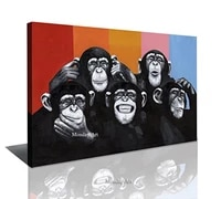 hand painted modern abstract cartoon animal oil painting on canvas abstract gorilla wall art monkey for living room home decor