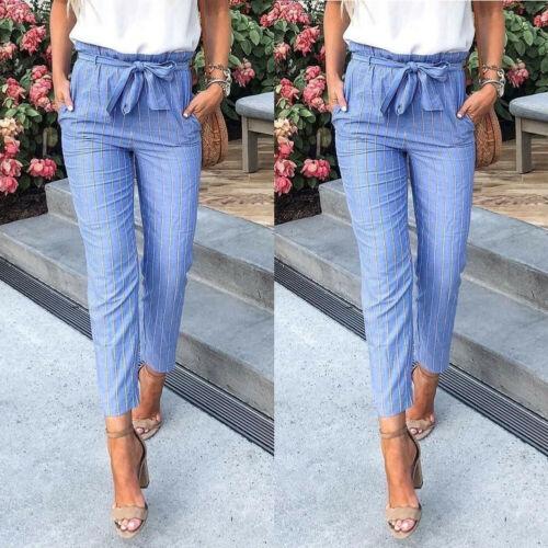 Women Fashion 2019 Skinny Women Striped Long Pants Ladies High Waist Trousers Pants Size 6-14 Women Clothing long pants