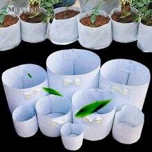 Bolsa de Control de raíces MUCIAKIE, bolsas de cultivo de tela verde, bolsa para planta contenedor de raíces, macetas blancas, bolsas de plantación de jardín gruesas
