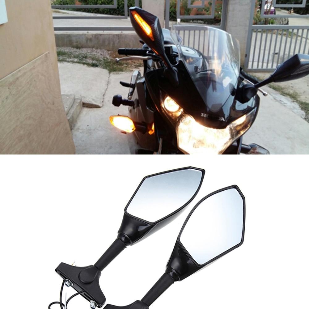 Evomosa espejos retrovisores de motocicleta luces LED intermitentes para Hyosung GT125R GT250R GT650R Kawasaki Z750S Ninja 250R 650R
