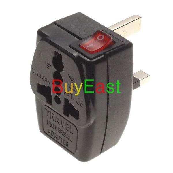 Lote 5 adaptador de viaje Wonpro UK/Ireland/Malaysia/Singapore/Hongkong adaptador multisalida Tipo G 2 vías con interruptor principal LED