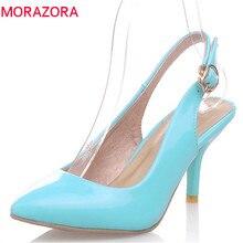 MORAZORA 2020 رائجة البيع موضة النساء مضخات أشار تو الصيف رقيقة عالية الكعب أحذية الإناث مشبك أنيقة أحذية الزفاف امرأة