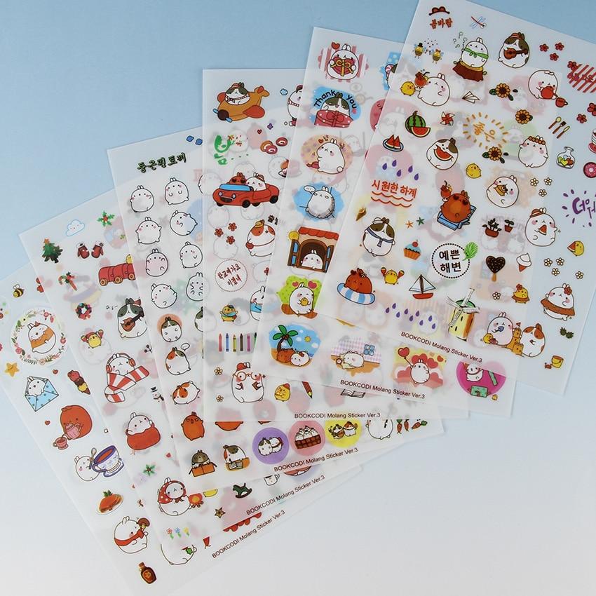 6PCS/Pack New Korea Creative Cartoon Potato Rabbit Series Kawaii Pvc Stickers In The Third Quarter Potatoes Rabbit