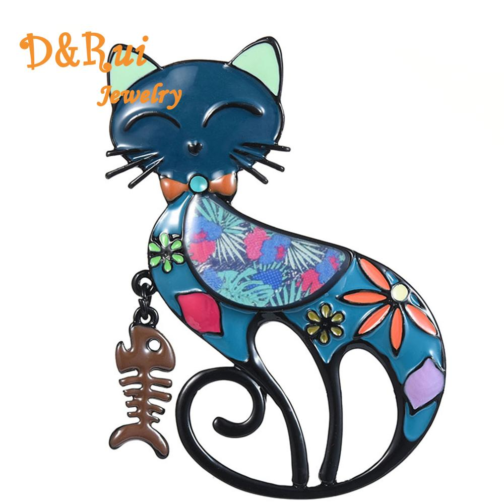 D & Rui Jewelry 2019 novia nueva moda esmalte gato pez hueso broches pines para mujer alta calidad Popular Animal broche de mascota Pin
