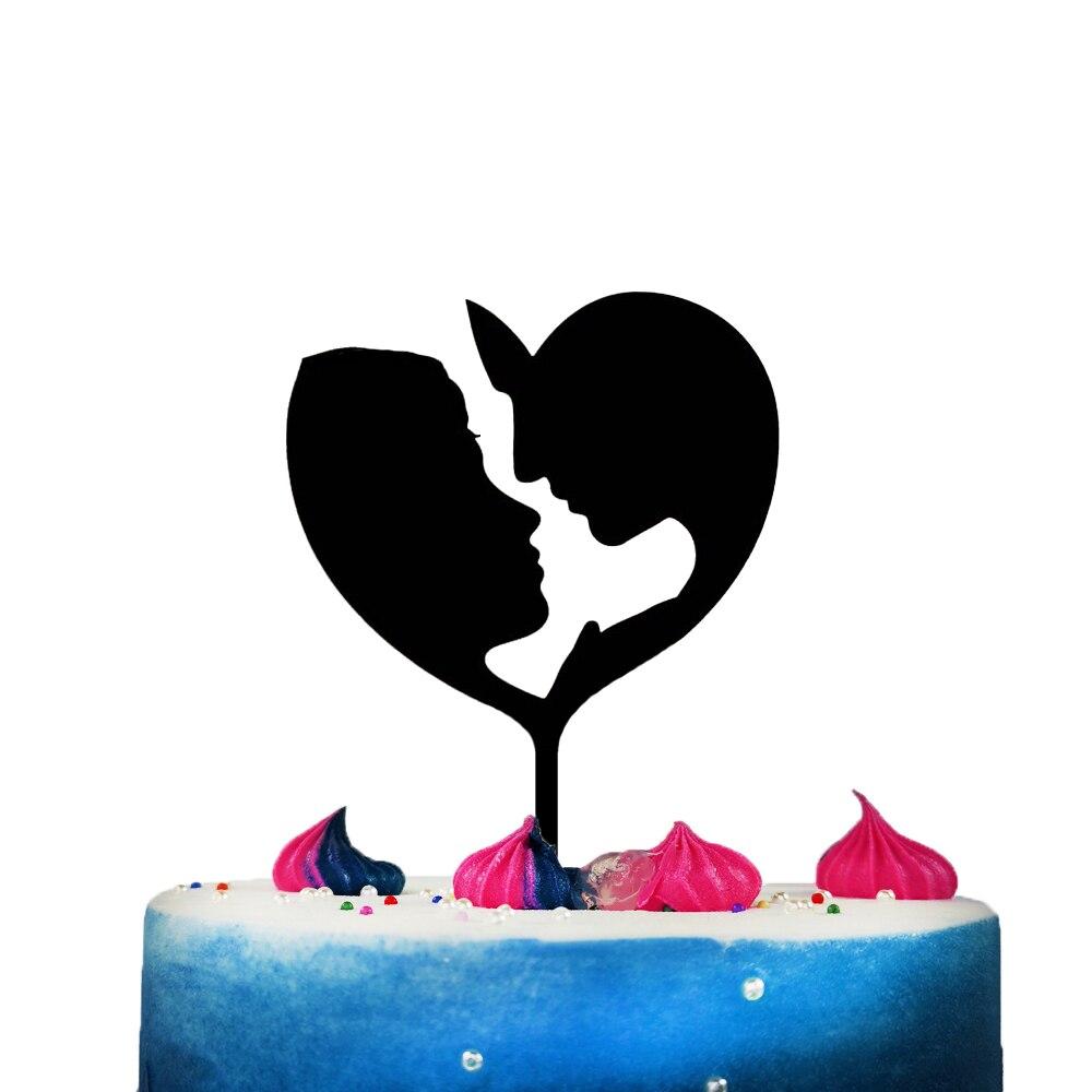 Мужчина и женщина в Топпер для торта в форме сердца для свадьбы юбилей день Святого Валентина, персонализированные уникальные украшения дл...