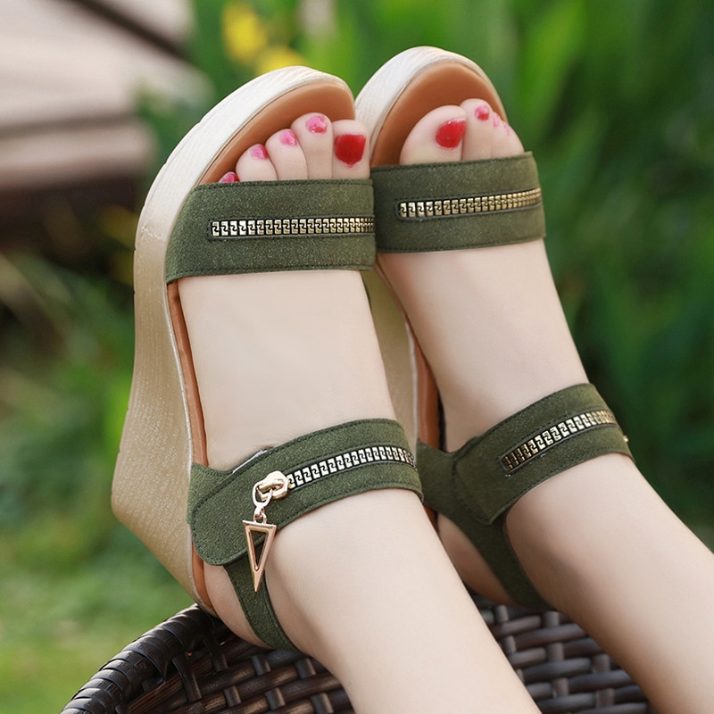 8cm Offene spitze Kuh Wildleder Keile Schuhe für Frauen Sommer 2021 Casual Plattform Sandalen Frau Strand Sandale Große Größe 41 42 43