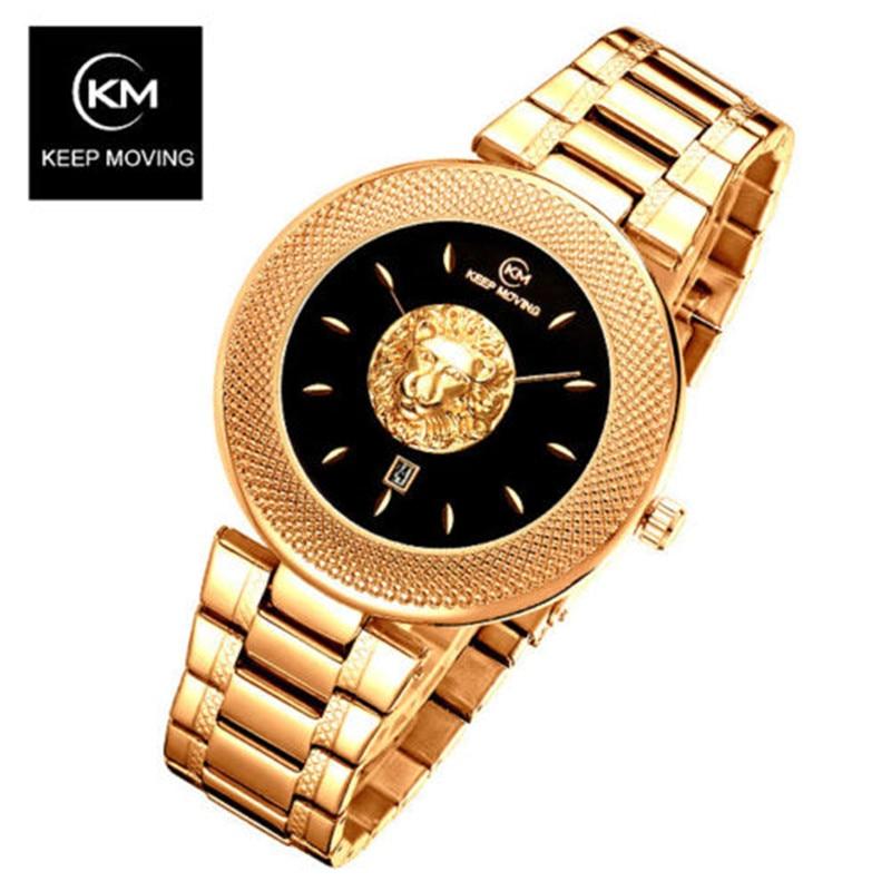 KEEP MOVING Men Watch Lion Head Sport Mens Watches Top Brand Luxury Waterproof Steel Quartz Gold Clock Men Relogio Masculino
