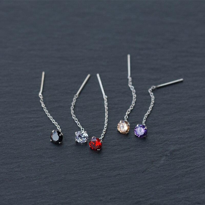 MloveAcc nuevo elegante Pendientes colgantes de cadena larga S925 plata esterlina solo CZ cristal colgante Brincos para las mujeres