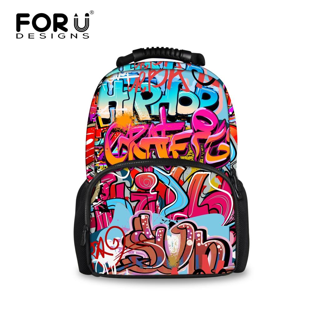FORUDESIGNS 3D Graffiti Pattern Women's Backpack Casual Shoulder Backpacks For Teen Girls Laptop Bags Travel Rucksack Mochilas